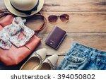 travel accessories costumes.... | Shutterstock . vector #394050802