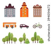 city elements in flat style.... | Shutterstock .eps vector #394054672