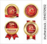anniversary golden badges... | Shutterstock .eps vector #394070902