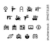 set icons of electric generator ... | Shutterstock .eps vector #394073185