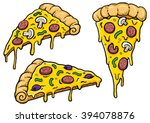 cartoon pizza slices with... | Shutterstock .eps vector #394078876