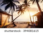 wooden cottage with sea view in ... | Shutterstock . vector #394081615