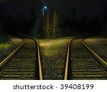 Railway Branching At Night
