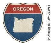 grunge oregon american... | Shutterstock . vector #394083955
