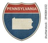 grunge pennsylvania american... | Shutterstock . vector #394084102
