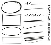 brush stroke circle rectangle ... | Shutterstock .eps vector #394102915