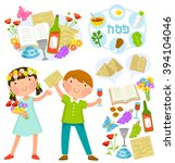 set of passover illustrations... | Shutterstock . vector #394104046