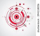 technical blueprint  red vector ... | Shutterstock .eps vector #394118056