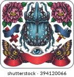hand drawn set of old school...   Shutterstock .eps vector #394120066