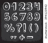 hand drawn numbers on... | Shutterstock .eps vector #394123942