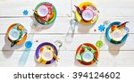 colorful picnic table place... | Shutterstock . vector #394124602