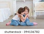 two little girls sisters hugging | Shutterstock . vector #394136782