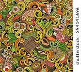 cartoon hand drawn doodles on... | Shutterstock .eps vector #394141696