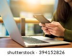 woman use of cellphone and... | Shutterstock . vector #394152826
