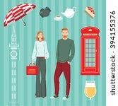 set of vector illustrations.... | Shutterstock .eps vector #394155376
