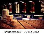 coin stack on old wooden floor...   Shutterstock . vector #394158265