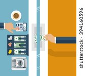 cashier in bank. worker bank ...   Shutterstock .eps vector #394160596