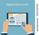 approved to work. employer on...   Shutterstock .eps vector #394161922