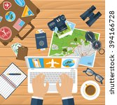 travel planning. trip plan... | Shutterstock .eps vector #394166728