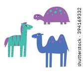 set of cute african animals on... | Shutterstock .eps vector #394169332