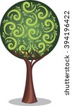 stylized tree with leaves... | Shutterstock .eps vector #394196422