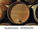 Close Up Of Wooden Wine Barrel...