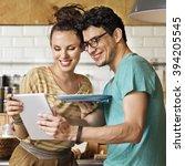 couple eating spaghetti sweet... | Shutterstock . vector #394205545