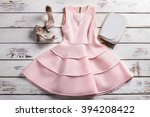 dress with footwear and jewelry.... | Shutterstock . vector #394208422