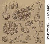 doodle set of pizza ...   Shutterstock .eps vector #394211806