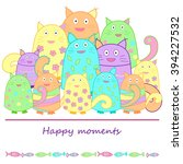 funny colorful cats with fish.... | Shutterstock . vector #394227532