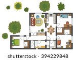 colorful floor plan of a house. | Shutterstock .eps vector #394229848