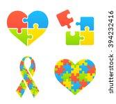autism awareness symbols set.... | Shutterstock .eps vector #394232416