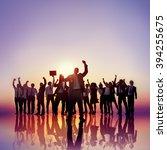 business people hands raised... | Shutterstock . vector #394255675