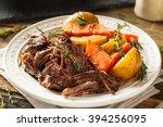 homemade slow cooker pot roast... | Shutterstock . vector #394256095