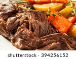 homemade slow cooker pot roast... | Shutterstock . vector #394256152