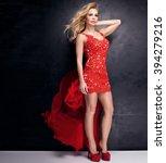 elegant blonde woman posing in... | Shutterstock . vector #394279216