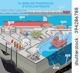 oil extraction on the sea shelf ... | Shutterstock .eps vector #394286788