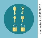 set of locks and keys in flat... | Shutterstock .eps vector #394288816