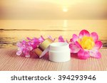 cream pot and flower with blur... | Shutterstock . vector #394293946