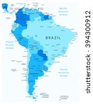 south america detailed map blue ... | Shutterstock .eps vector #394300912