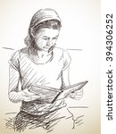 Sketch Of Woman Reading Book ...