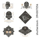 thin line skull labels. retro... | Shutterstock .eps vector #394307056