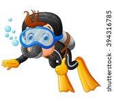 cute boy snorkeling | Shutterstock .eps vector #394316785