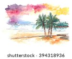 Stock photo watercolour painting of sunset at the beach with coconut trees 394318936