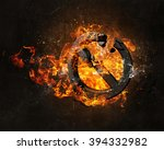 stop sign burning in fire | Shutterstock . vector #394332982