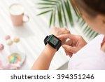 hands of woman using... | Shutterstock . vector #394351246