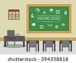 blackboard and desk in the... | Shutterstock .eps vector #394358818