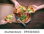 people hands with sliced pizza... | Shutterstock . vector #394364602