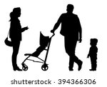 family with baby and pram on a... | Shutterstock .eps vector #394366306