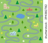cartoon map seamless pattern... | Shutterstock .eps vector #394382782